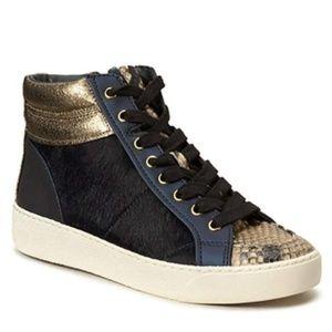 Sam Edelman Britt Navy Brahma Calf Hair Sneakers